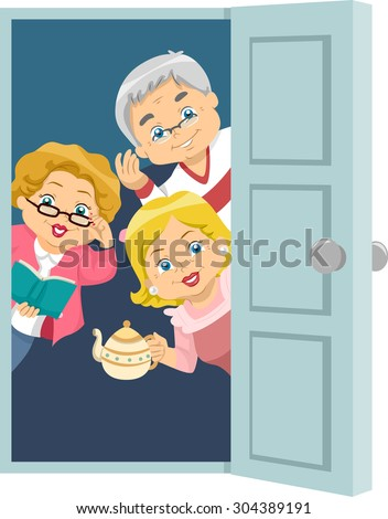 Illustration of Seniors Welcoming Guests to a House Party Сток-фото ©