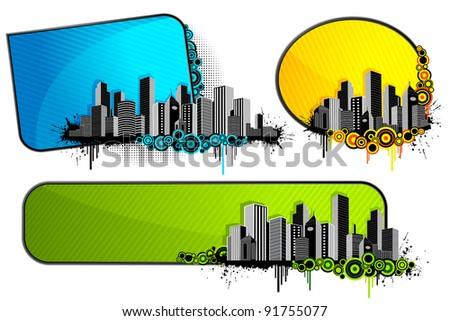 illustration of set of architectural banner with city scape
