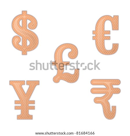 illustration  of set of bandage in different currency shape