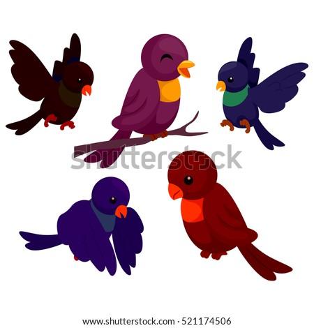 Illustration of Set of Birds