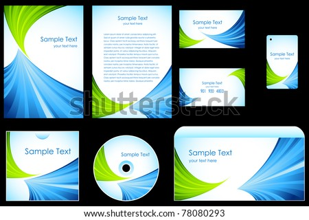 illustration of set of business template on black background