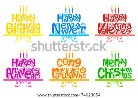 illustration of set of cake for different occasion on isolated white background
