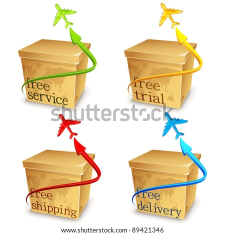 illustration of set of carton with airplane for free shipping