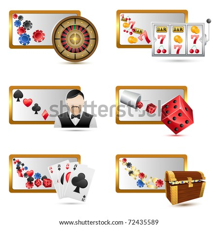 illustration of set of casino icons on isolated white background