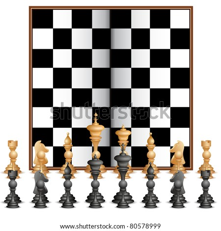 illustration of set of chess figure with chess board