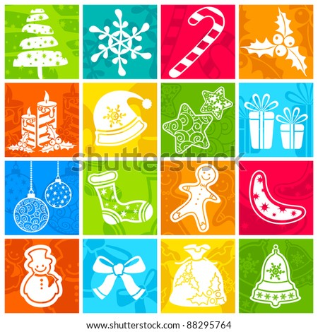 illustration of set of christmas element on colorful blocks