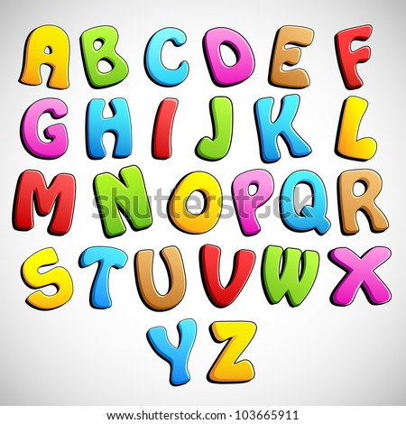 illustration of set of colorful alphabets on abstract background