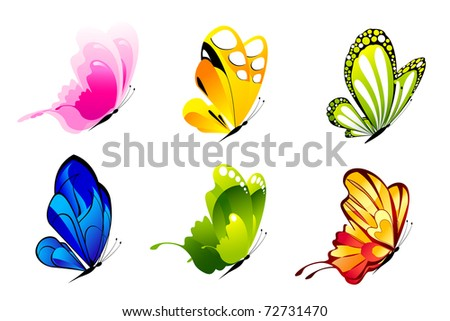illustration of set of colorful butterflies on isolated background