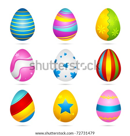 illustration of set of colorful decorated easter eggs on isolated background
