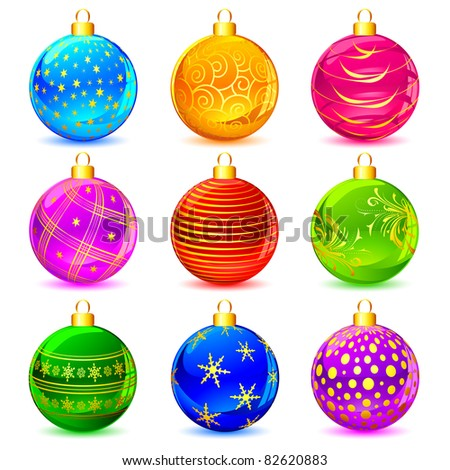 illustration of set of colorful decorative Christmas ball