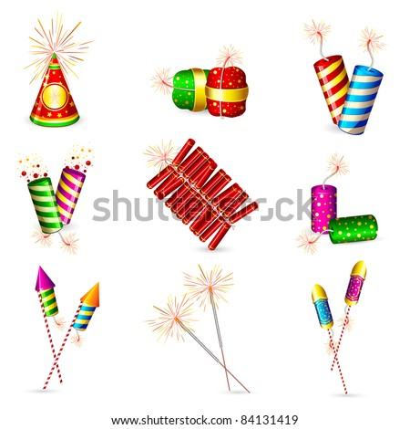 illustration of set of colorful firecracker for holiday fun