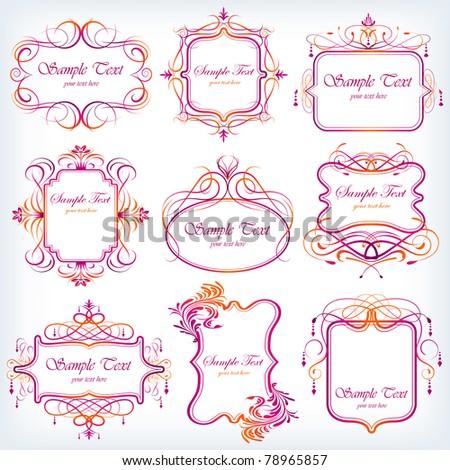 illustration of set of colorful floral frame