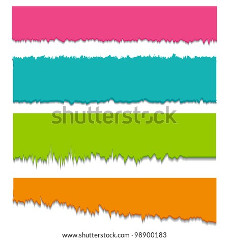illustration of set of colorful torn ripped paper for message