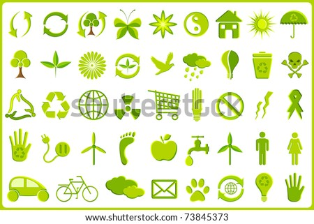 illustration of set of complete recycle icon set