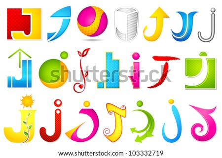 illustration of set of different colorful logo icon for alphabet J