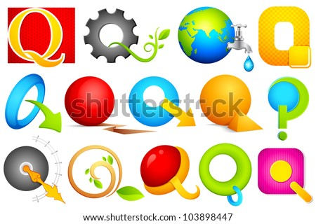 illustration of set of different colorful logo icon for alphabet Q