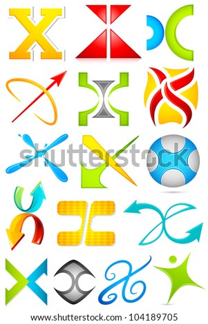 illustration of set of different colorful logo icon for alphabet X