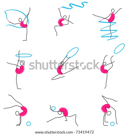 illustration of set of different poses of gymnastic