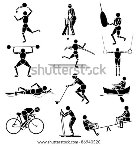 illustration of set of different sport person on isolated background