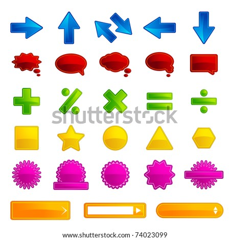 illustration of set of different type of button for web on white background
