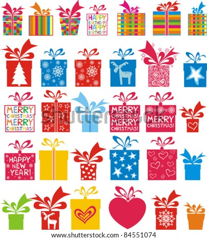 illustration of set of gift boxes for different occasion on isolated white background