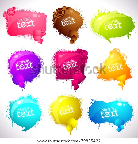 illustration of set of grungy speech bubble on abstract background