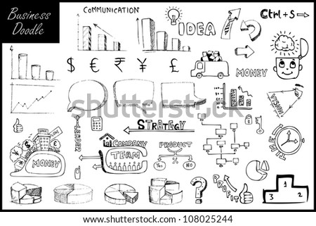 illustration of set of hand drawn business element