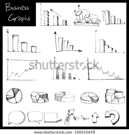 illustration of set of hand drawn sketch of business graph