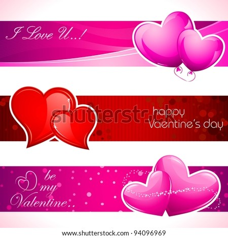 illustration of set of love banner with heart
