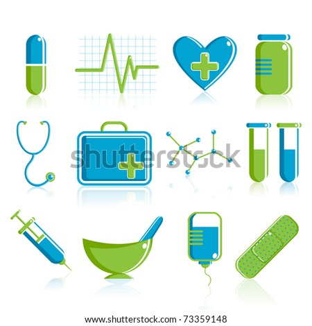 illustration of set of medical icon on plane white background