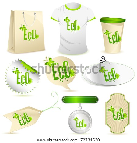 illustration of set of object with recycle icon on white isolated background
