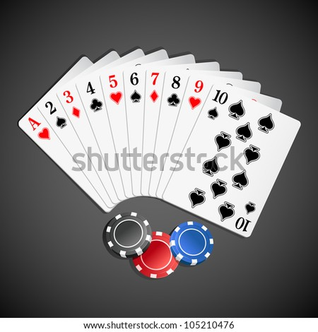 illustration of set of playing card with casino poker