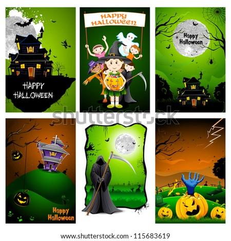 illustration of set of poster for Halloween celebration - stock vector