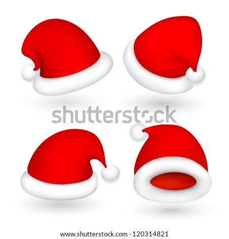 illustration of set of Santa cap for Christmas in different perspective