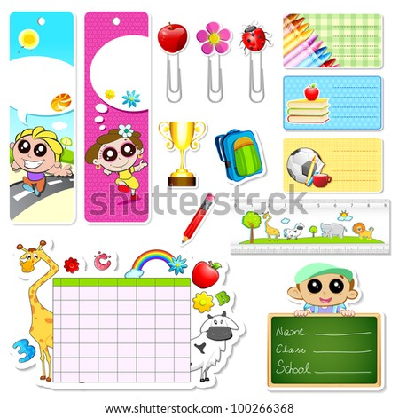 illustration of set of school stationery with different element