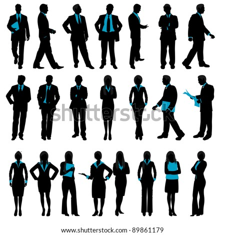 illustration of set of silhouette of business people on isolated background #89861179