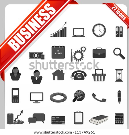 illustration of set of simple business icon