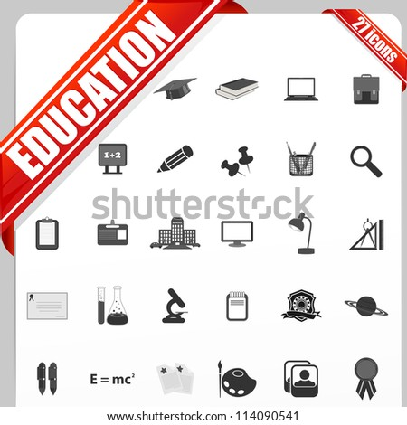 illustration of set of simple education icon