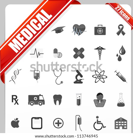illustration of set of simple medical icon set