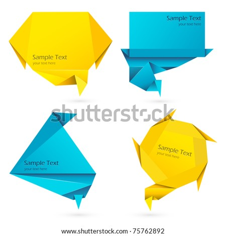 illustration of set of speech bubble in origami style