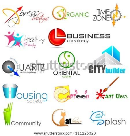 illustration of set of symbol for logo designing