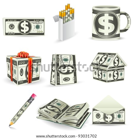 illustration of set of things made of dollar note