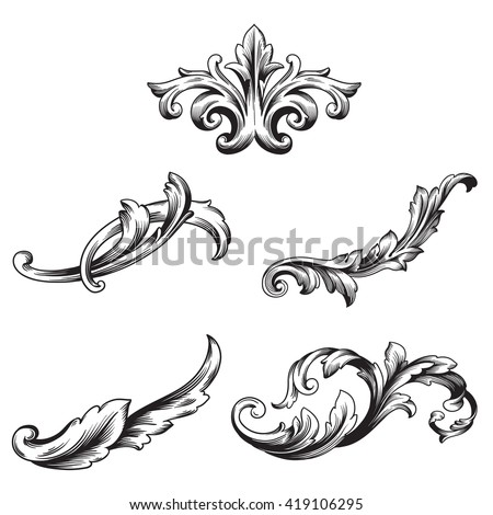 Illustration of set of vintage design elements. Baroque vector. Premium quality. Baroque ornament. Frame ornament.