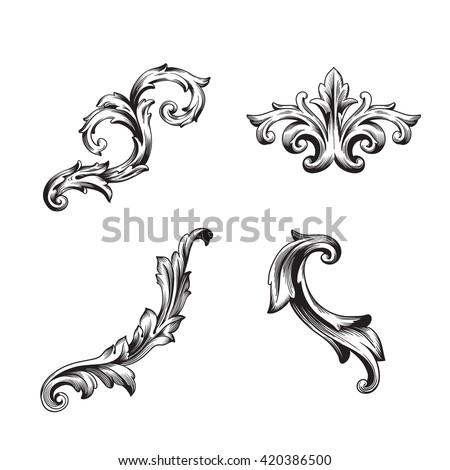 illustration of set of vintage design elements baroque vector premium quality baroque ornament antique style acanthus foliage swirl decorative design