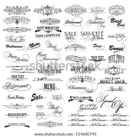 illustration of set of vintage design elements for celebration