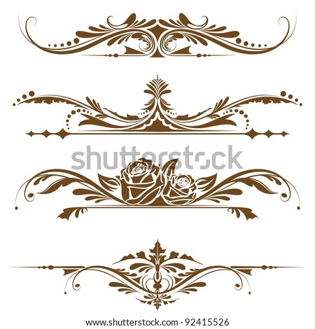 illustration of set of vintage design elements for page border