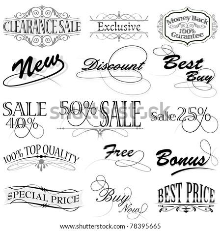 illustration of set of vintage design elements for selling icon