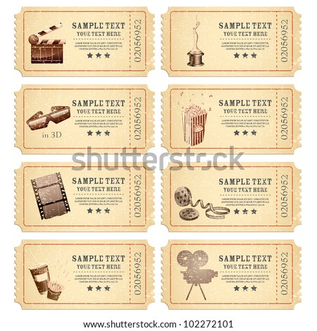illustration of set of vintage movie ticket with different film related object - stock vector