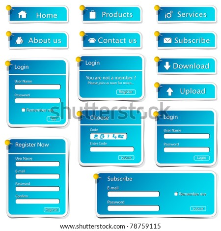 illustration of set of web form template in sticker style