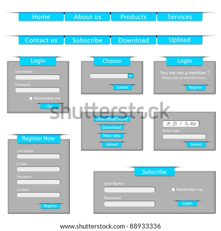 illustration of set of web template form made of paper